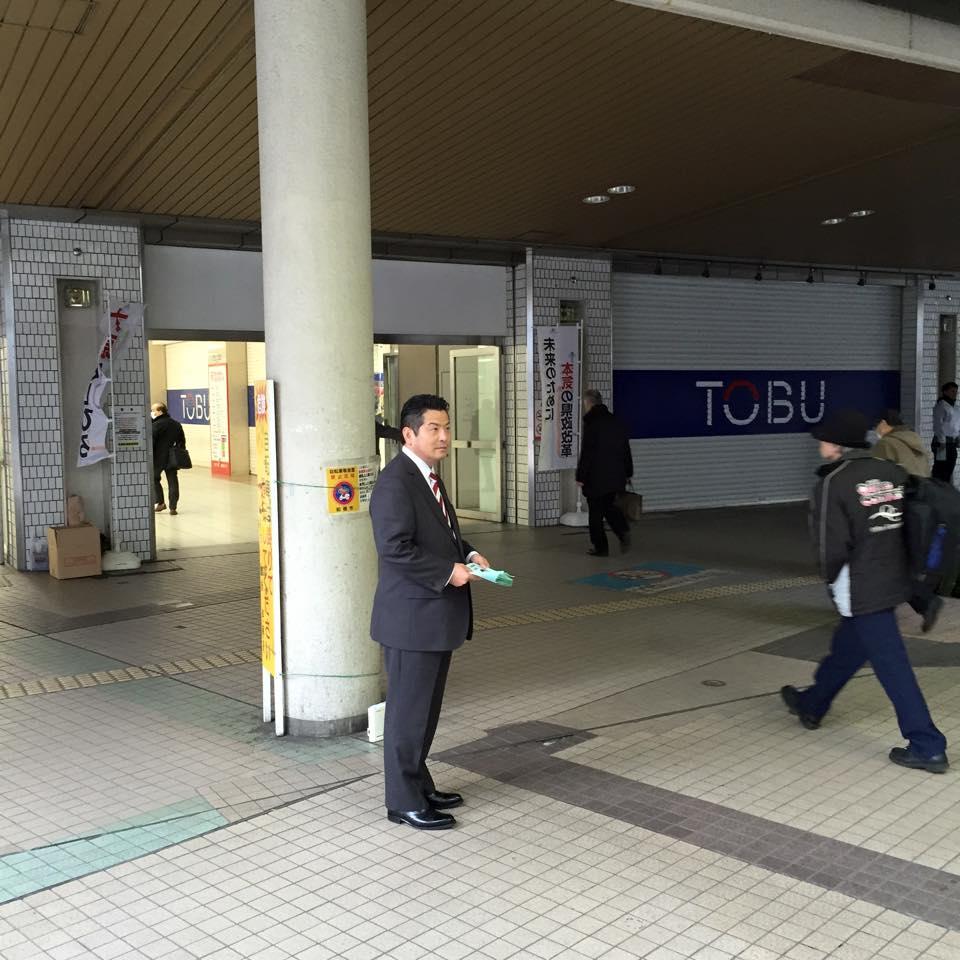 JR船橋駅北口で皆様にご挨拶する大原としひろ